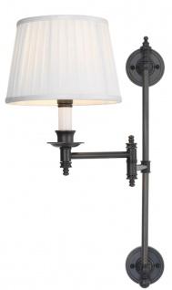 Casa Padrino Luxus Wandleuchte Bronze / Weiß 17 x 15 x H. 55 cm - Wandlampe mit Schwenkarm