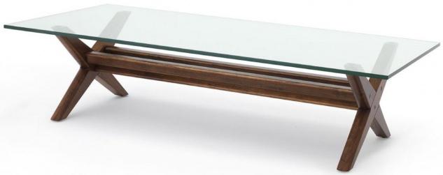 Casa Padrino Luxus Couchtisch Braun 160 x 80 x H. 40, 5 cm - Rechteckiger Massivholz Wohnzimmertisch mit Glasplatte - Luxus Wohnzimmer Möbel