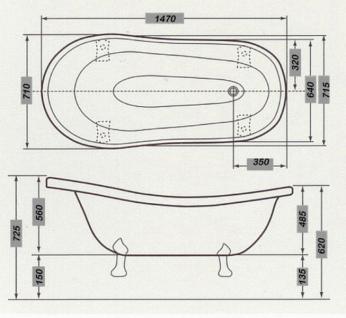 Freistehende Luxus Badewanne Jugendstil Roma Schwarz/Weiß/Altgold 1470mm - Barock Antik Badezimmer - Vorschau 5