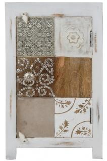 Casa Padrino Landhausstil Shabby Chic Kommode Antik Weiß / Mehrfarbig 40 x 32 x H. 70 cm - Kleiner Landhausstil Schrank mit Tür