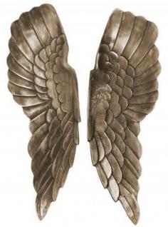 Casa Padrino Metall Engelsflügel Antik Silber / Bronze 20 x 5 x H. 65 cm - Wanddeko - Deko Accessoires