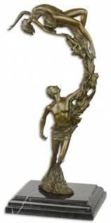 Casa Padrino Luxus Bronze Skulptur mit Marmorsockel Tänzer Paar Bronze / Schwarz 18, 3 x 12, 9 x H. 36, 2 cm - Bronzefigur - Dekofigur - Deko Accessoires