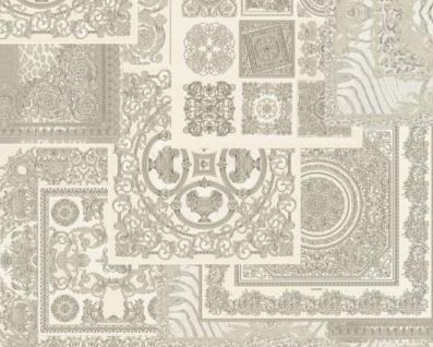 Versace Designer Barock Vliestapete IV 37048-5 - Grau / Silber / Weiß - Design Tapete - Hochwertige Qualität