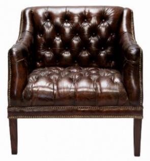 Casa Padrino Luxus Echtleder Wohnzimmer Sessel Dunkelbraun 80 x 84 x H. 79 cm - Chesterfield Möbel