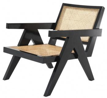 Casa Padrino Designer Stuhl mit Armlehnen in schwarz / naturfarben 58 x 82 x H. 70 cm - Designermöbel - Vorschau 2