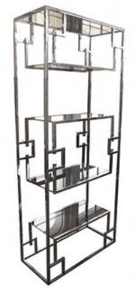 Casa Padrino Luxus Regalschrank Silber 85 x 40 x H. 200 cm - Edelstahl Schrank mit Glasregalen - Wohnzimmerschrank - Wohnzimmermöbel