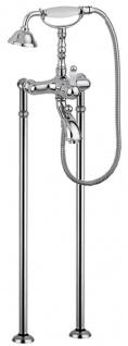 Casa Padrino Jugendstil Badewannen Armatur Silber / Weiß H. 105, 5 cm - Nostalgische Badezimmer Badewannen Armatur mit Brause und Standfüßen