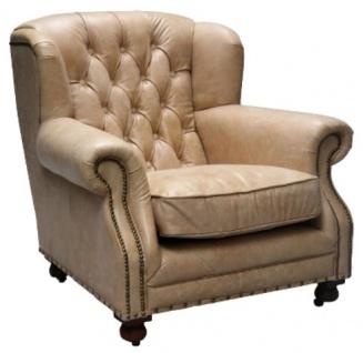Casa Padrino Luxus Echtleder Sessel Beige 92 x 97 x H. 89 cm - Chesterfield Wohnzimmermöbel