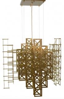 Casa Padrino Designer Hängeleuchte Messing 69, 5 x 69, 5 x H. 60 cm - Hotel Möbel