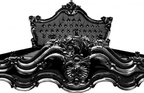 Barock Bett Barocco Schwarz Satinstoff / Schwarz mit Bling Bling Glitzersteinen 180 x 200 cm aus der Luxus Kollektion von Casa Padrino - Vorschau 2