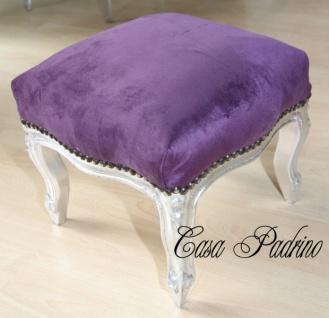 Casa Padrino Barock Fußhocker Lila / Silber - Hocker Antik Stil Möbel