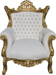 Casa Padrino Barock Sessel Al Capone Weiß / Gold mit Bling Bling Glitzersteinen - Antik Stil Wohnzimmer Möbel - Vorschau 1