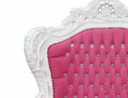 Casa Padrino Barock Sessel King Rosa / Weiß mit Bling Bling Glitzersteinen - Edel & Prunkvoll - Vorschau 3