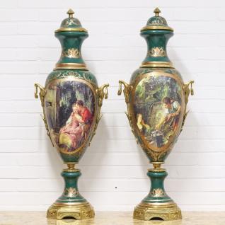 Casa Padrino Luxus Porzellan Vasen Set Grün / Gold 30 x H. 100 cm - Dekorationen im Barockstil