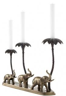 Casa Padrino Luxus Kerzenhalter Elefanten & Palmen Antik Messing / Bronze 38 x 7, 5 x H. 28, 5 cm - Hotel & Restaurant Deko Accessoires