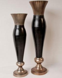 Casa Padrino Art Deco Vase Schwarz / Gold Massiv 92 cm