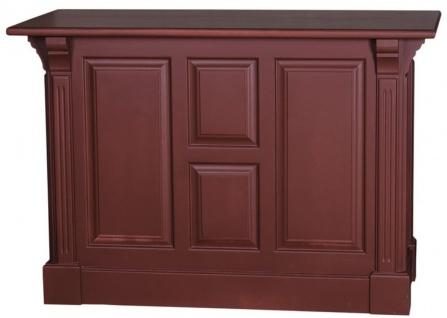 Casa Padrino Landhausstil Theke Bordeauxrot 140 x 68 x H. 95 cm - Massivholz Ladentheke mit Tür und 2 Schubladen - Landhausstil Möbel