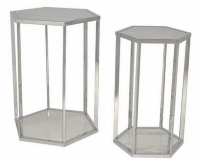 Casa Padrino Luxus Beistelltisch Set Silber / Weiß - Edelstahl Tische mit Marmorplatten - Luxus Kollektion