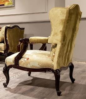 Casa Padrino Luxus Barock Ohrensessel Gold / Mehrfarbig / Schwarz - Prunkvoller Wohnzimmer Sessel mit elegantem Muster - Barock Möbel