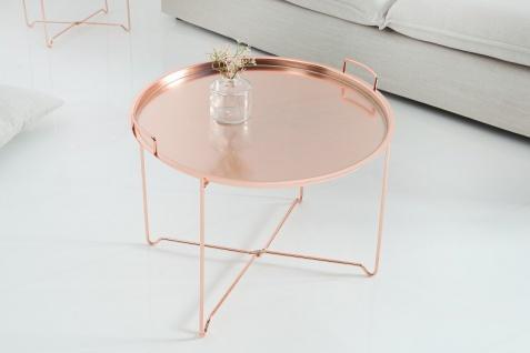 Casa Padrino Luxus Couchtisch Klappbar - Tablett Kupfer B.56 cm x H.48 cm x T.56 cm - Wohnzimmer Salon Tisch - Vorschau 3