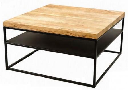 Casa Padrino Luxus Couchtisch Naturfarben / Schwarz 80 x 80 x H. 40 cm - Moderner Wohnzimmertisch mit Massivholz Tischplatte - Luxus Wohnzimmer Möbel