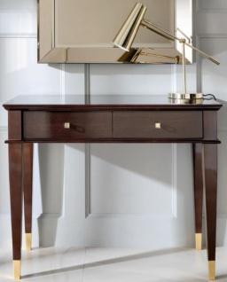 Casa Padrino Luxus Neoklassik Konsole Braun / Gold 100 x 35 x H. 80 cm - Konsolentisch mit 2 Schubladen - Art Deco Möbel