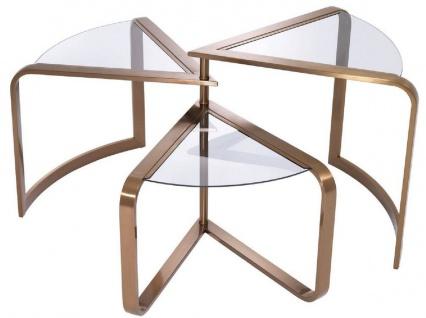 Casa Padrino Designer Edelstahl Beistelltisch mit Glasplatten Kupferfarben 109 x 58 x H. 56 cm - Designer Möbel