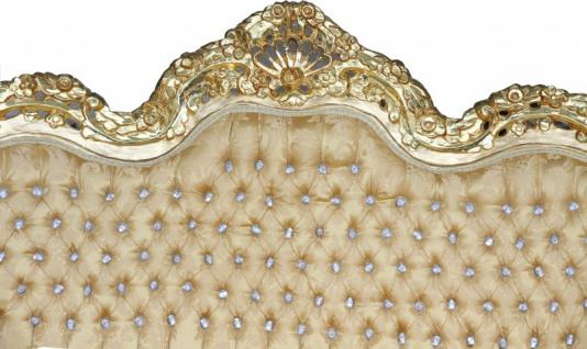 Casa Padrino Barock 2-er Sofa Master Gold Barock Muster/ Gold mit Bling Bling Glitzersteinen Mod3 - Wohnzimmer Couch Möbel Lounge - Vorschau 2
