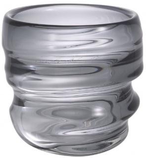 Casa Padrino Luxus Deko Glas Vase Grau Ø 22 x H. 24 cm - Elegante mundgeblasene Blumenvase - Luxus Deko Accessoires