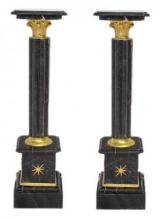 Casa Padrino Barock Marmor Säulen Set Schwarz / Gold - Marmor Säule (2 Stk)