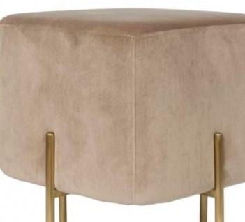Casa Padrino Luxus Sitzhocker Beige / Messingfarben 40 x 40 x H. 45 cm - Designer Wohnzimmermöbel - Vorschau 2