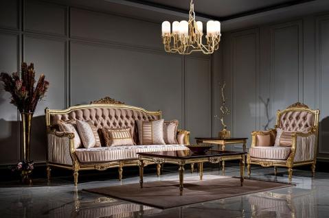Casa Padrino Luxus Barock Wohnzimmer Set Rosa / Weiß / Gold - 2 Sofas & 2 Sessel & 1 Couchtisch - Prunkvolle Wohnzimmer Möbel im Barockstil