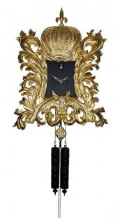 Pompöös Schwarzwälder Kuckucksuhr mit Krone Gold / Schwarz 35 x H. 45 cm - Handgeschnitzte Wanduhr im Rokoko Stil veredelt mit 22K Gold - designed by Harald Glööckler