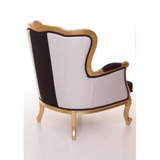 Casa Padrino Luxus Barock Sessel Schwarz / Weiß / Gold Möbel - Luxury Hotel Collection - Vorschau 3