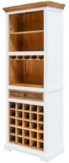 Casa Padrino Landhausstil Weinschrank Weiß / Naturfarben 72 x 40 x H. 196 cm - Handgefertigter Massivholz Barschrank - Barmöbel im Landhausstil