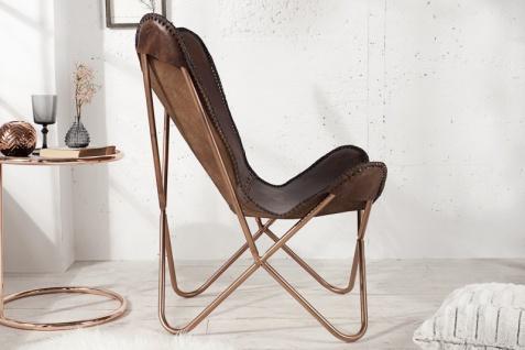 Casa Padrino Echleder Designer Sessel Braun - Relax Leder Stuhl - Vorschau 3