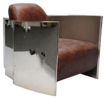 Casa Padrino Echtleder Club Sessel Vintage Braun / Silber 68 x 89 x H. 73 cm - Luxus Qualität