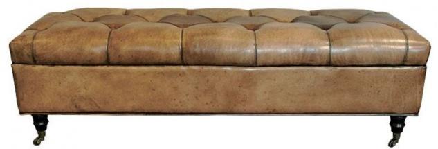 Casa Padrino Chesterfield Echtleder Sitzbank mit Rollen Vintage Braun 152 x 53 x H. 42 cm - Chesterfield Möbel