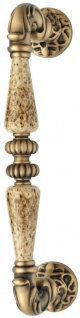 Casa Padrino Barock Türgriff Set Messing Patiniert 4, 6 x H. 27, 4 cm - Barockstil Türgriff Set mit Edel Porzellan