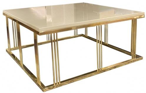 Casa Padrino Luxus Couchtisch Grau / Gold 100 x 100 x H. 45 cm - Quadratischer Wohnzimmertisch mit Glasplatte - Wohnzimmer Möbel