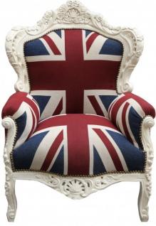 "Casa Padrino Barock Sessel "" King"" Union Jack/ Creme- Möbel Antik Stil- Englische Flagge"