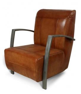 Casa Padrino Vintage Industrial Echtleder Lounge Sessel - ALLE FARBEN - Luxus Wohnzimmer Sessel Industrie Design Möbel Büffelleder