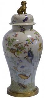 Casa Padrino Jugendstil Porzellan Vase mit Deckel Mehrfarbig / Messing Ø 24, 2 x H. 54, 6 cm - Barock & Jugendstil Deko Accessoires