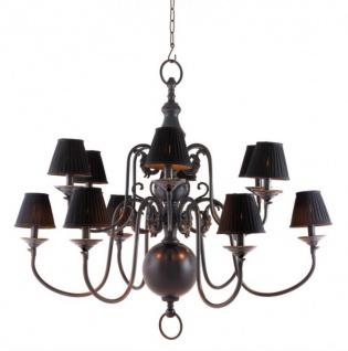 Casa Padrino Luxus Kronleuchter Gunmetal Finish 12 - armig - Barock Restaurant - Hotel Lampe Leuchte - austauschbare Lampenschirme