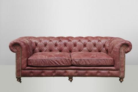 Chesterfield Luxus Echt Leder Sofa 2.5 Seater Vintage Leder von Casa Padrino Galata Red