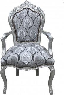 Casa Padrino Barock Esszimmer mit Armlehnen Silber-Schwarz Muster / Silber - Antik Stil Möbel