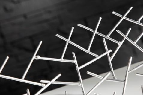 Designer Obstschale Structure silber aus silbernem Metall Höhe 15 cm, Durchmesser 45 cm - Schale, Obstkorb, Deko Schale - Vorschau 5