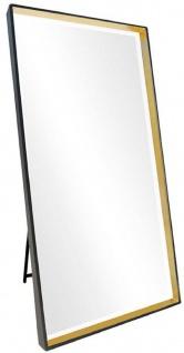 Casa Padrino Luxus Standspiegel Schwarz / Gold 100 x H. 200 cm - Ganzkörperspiegel - Schlafzimmer Spiegel - Schlafzimmer Möbel