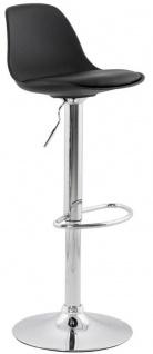 Casa Padrino Barstuhl Schwarz / Silber H. 81-104 cm - Moderner höhenverstellbarer Barhocker mit hochwertigem Kunstleder - Barmöbel