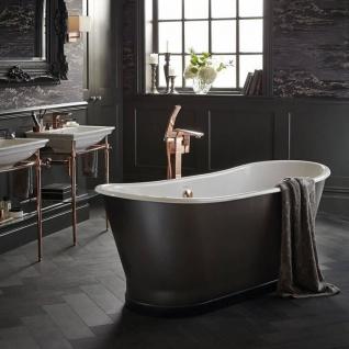 Casa Padrino Luxus Gusseisen Badewanne Carbonfarben / Weiß 170 x 68 x H. 69.5 cm - Gebogene freistehende Badewanne - Barock & Jugendstil Badezimmer Möbel